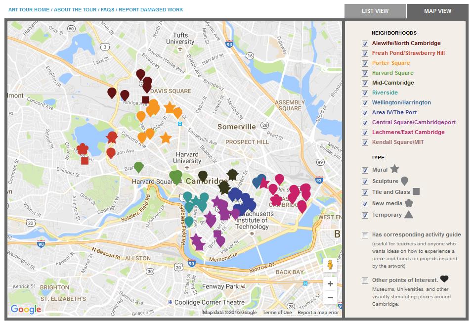 Screen shot of Cambridge's Public Art Map